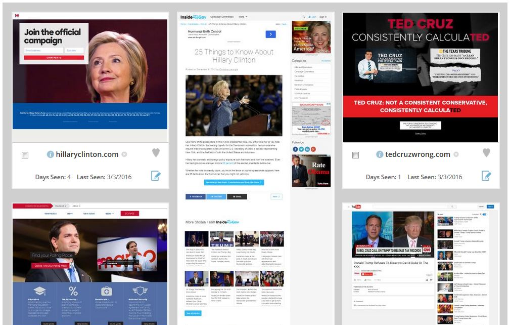 2016 president landing pages