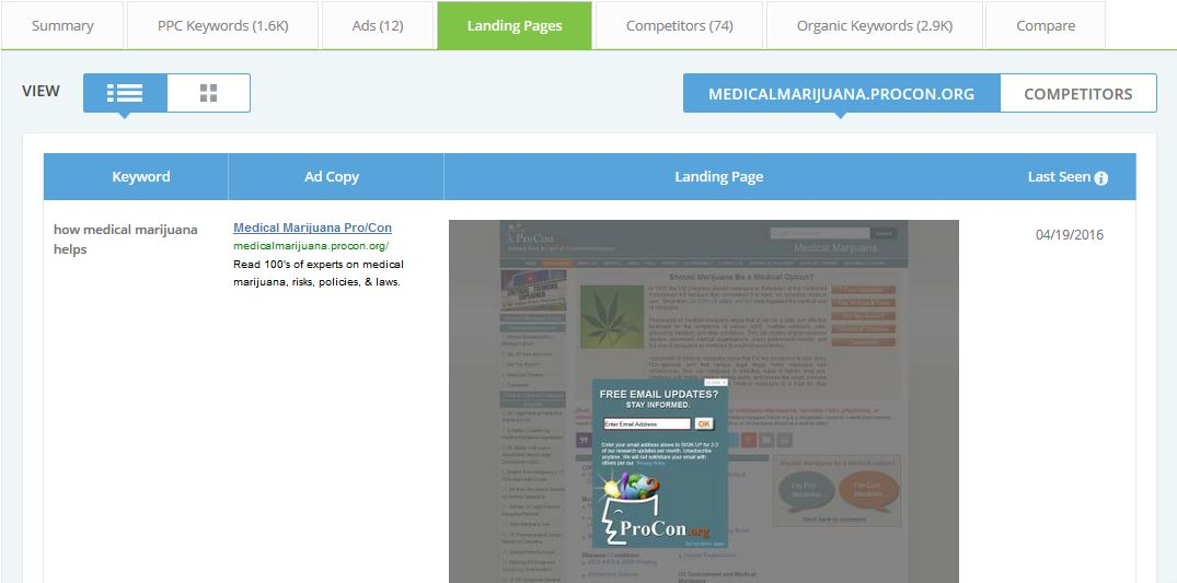 legal cannabis keyword ad and landing page
